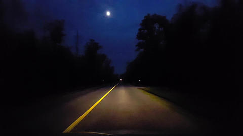 Driving Rural Backroad Surrounded By Forest Trees at Night. Driver Point of View POV Countryside Footage