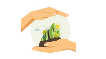 Hands holding earth including mountain,trees or sun save the planet design After Effects Project
