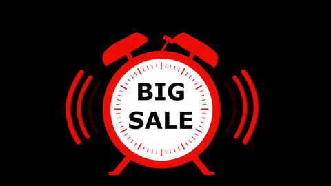 Big red sale alarm clock animated on green background Animation