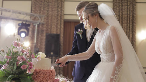 Bride and a groom is cutting their wedding cake. Newlyweds cuts a slice of cake Live Action