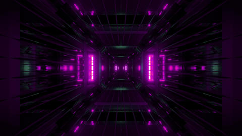 glowing futuritic sci-fi tunnel with wireframe 3d rendering wallpaper motion Animation
