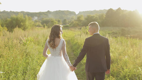Groom with bride walking in the park. Wedding couple. Happy family. Newlyweds Live Action
