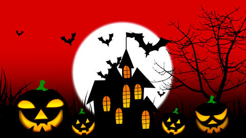 Halloween colourful theme animation background, with scary moving tree and hovering bats on moon sky Animation