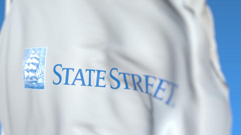 Waving flag with State Street Corporation logo, close-up. Editorial loopable 3D Live Action