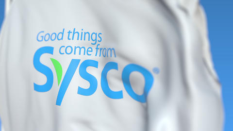 Waving flag with Sysco Corporation logo, close-up. Editorial loopable 3D Live Action