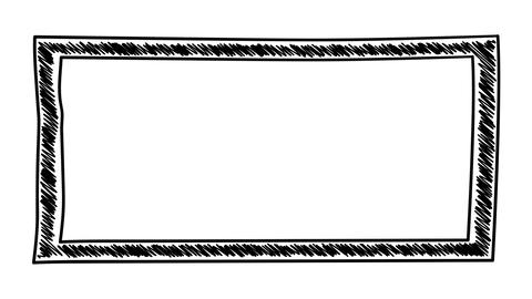 Isolated hand-drawn rectangular frame with hatching Animation