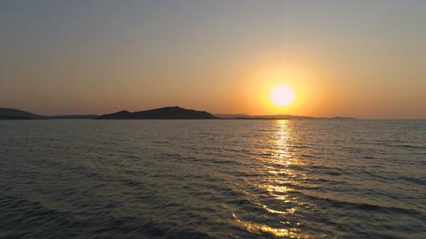 Stunning Sea Sunset, Bright Orange Sunset Over Sea Water Horizon Water Footage