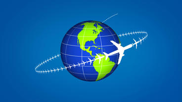 Airplane flying around the globe showing some travel or transportation After Effects Template