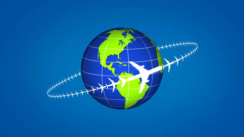 Airplane flying around the globe showing some travel or transportation After Effectsテンプレート