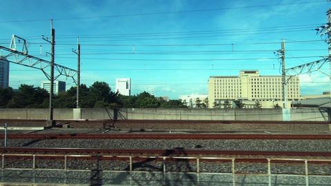Japan Railway train window. Driving image on a sunny day Footage