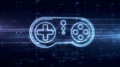 Game pad symbol hologram Animation