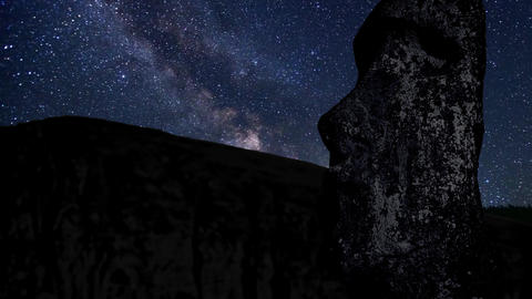time lapse with stars, foreground statue Moai in the Rano Raraku volcano Easter Live Action