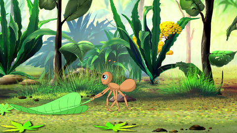 Ant carries a green leaf Animation