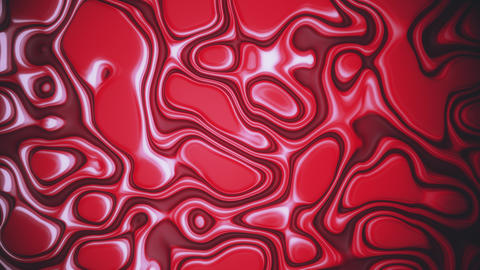 Saturated red abstract liquid waves on oil vibrant surface with white glares Footage