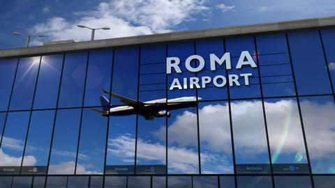 Airplane landing at Roma mirrored in terminal Live Action