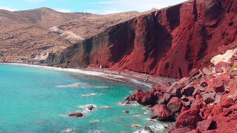 Panoramic view of the seacoast and the Red beach. Santorini, Cycladic islands, Greece. Beautiful Live Action