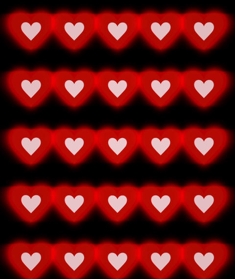 Group of flashing multicoloured red hearts Animation