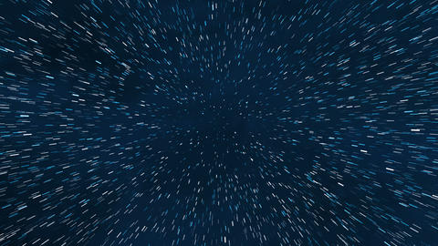 Time lapse shiny blue and white star trail tunnel background illustration Animation