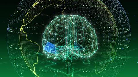 AI, artificial intelligence digital network technologies 19 1 Brain 5 green 4k Animation