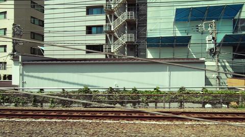 Japan Railway train window. View from the railway in Tokyo. Travel in Minato City ビデオ