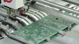 Production of electronic board. Close-up Footage