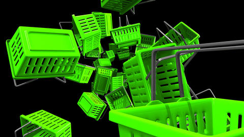 Green Shopping baskets on black background Animation