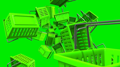 Green Shopping baskets on green background Animation