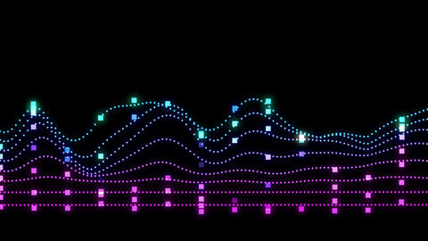 Colorful vertical neon lines forming an audio frequency waveform Animation