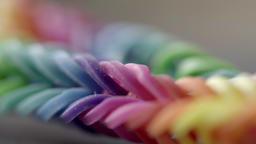 Colorful Loom Band extreme close up stock footage Footage