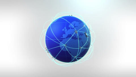 Growing Global Network-white background CG動画素材