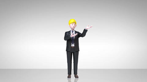 businessman character showing presentation, gesture pointing.2 CG動画素材