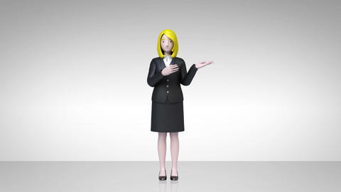businesswoman character showing presentation, gesture pointing 1 CG動画素材