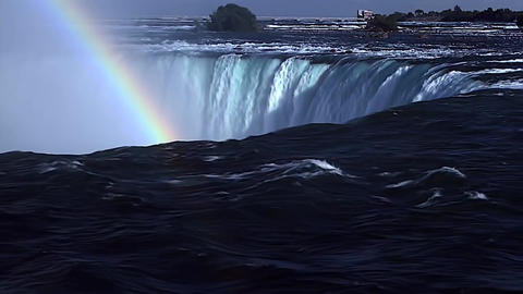 Rainbow Over The Waters of Niagara Falls Footage