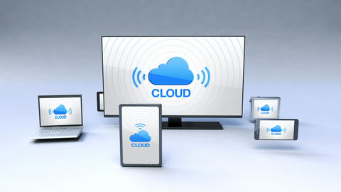 Smart TV arounded various mobile devices ,cloud service concept Animation