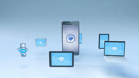 Smart phone wi fi share function with ubiquitous mobile device concept Animation