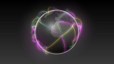 Start Asia,Growing Global Network Black earth-black background Animation