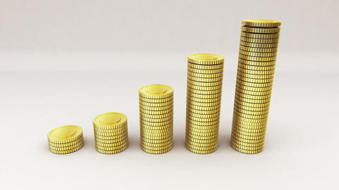 Pile up Golden coins expressed growth profits Animation