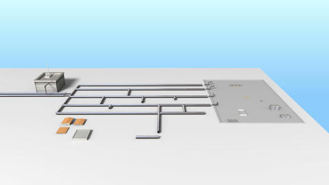 Process Control Water Purification system on Ground. White version Animation