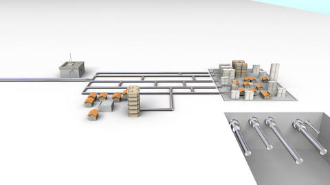 Process Control Water Purification system on Ground. White version 2 Animation