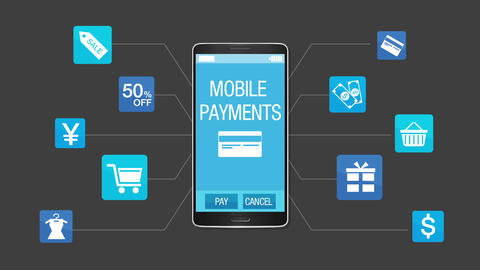 Mobile shopping and payment concept, using smart phone Animation