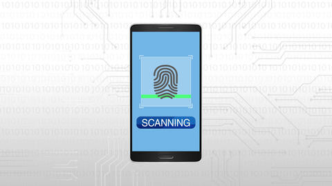 Authentication through Fingerprint, Mobile security concept animation Animation