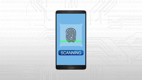 Authentication through Fingerprint, Mobile security concept animation Animation