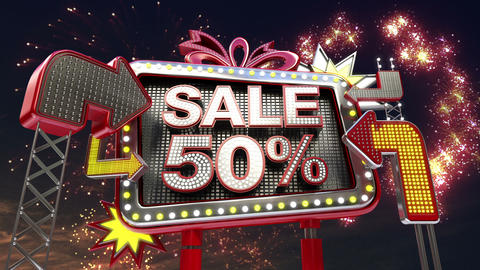 Sale sign 'SALE 50 percents' in led light billboard promotion Animation