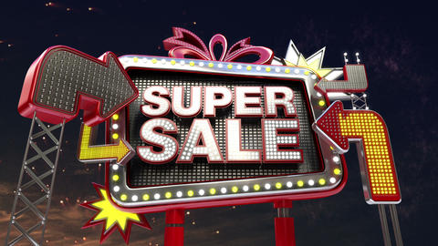 Sale sign 'Super Sale' in led light billboard promotion Animation