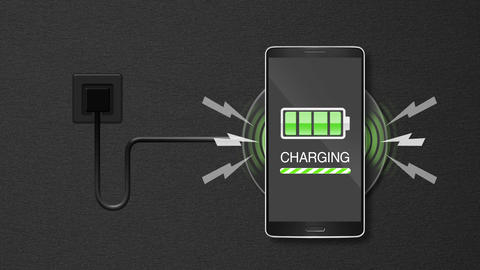 Explain wireless charge function, using smart phone and mobile phone 애니메이션