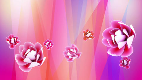 Abstract redtone background with oriental flower Animation