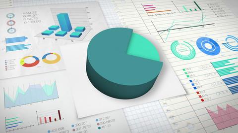 80 percent Pie chart with various economic finances graph version 2.(no text) Animation