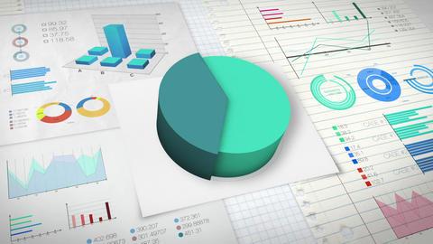 40 percent Pie chart with various economic finances graph version 2.(no text) Animation