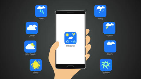 Weather application for smart phone,mobile, Weather forecast icon Animation