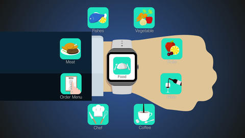 Food application function for smart watch,mobile watch(included alpha) Animation